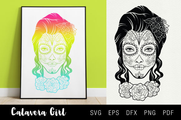 Calavera Girl Day of the Dead SVG Graphic Illustrations By SLS Lines