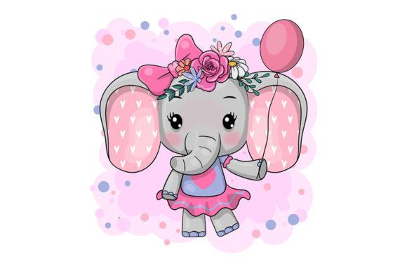 Cartoon Elephant with Flowers on a White Graphic Illustrations By maniacvector