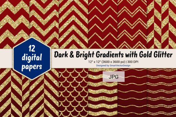 Print on Demand: Chevron, Scales, & Waves - Gradients #2 Graphic Backgrounds By SmartVectorDesign