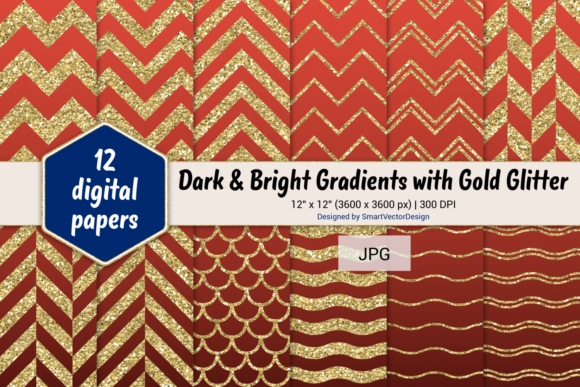 Print on Demand: Chevron, Scales, & Waves - Gradients #4 Graphic Backgrounds By SmartVectorDesign