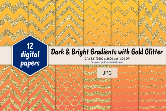 Print on Demand: Chevron, Scales, & Waves - Gradients #8 Graphic Backgrounds By SmartVectorDesign