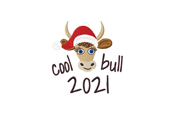 Print on Demand: Christmas Cool Bull Christmas Embroidery Design By EmbArt