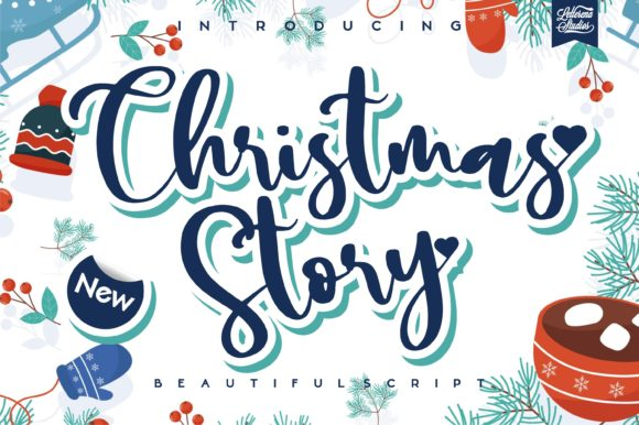 Print on Demand: Christmas Story Script & Handwritten Font By letterenastudios
