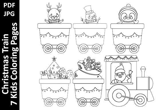 Christmas Train - 7 Kids Coloring Pages Graphic Coloring Pages & Books Kids By Oxyp