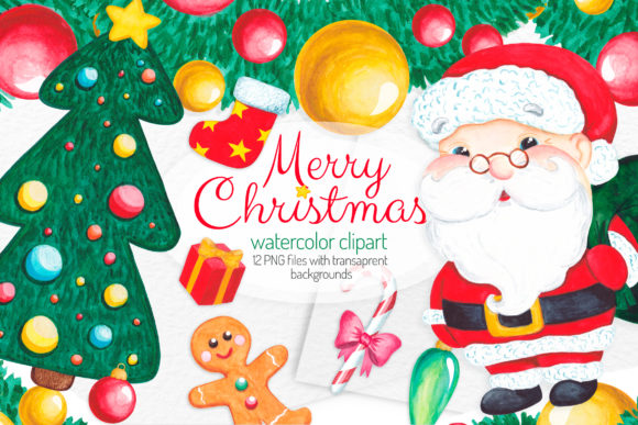 Christmas Watercolor Clipart Elements Graphic Illustrations By SweetRenieShop