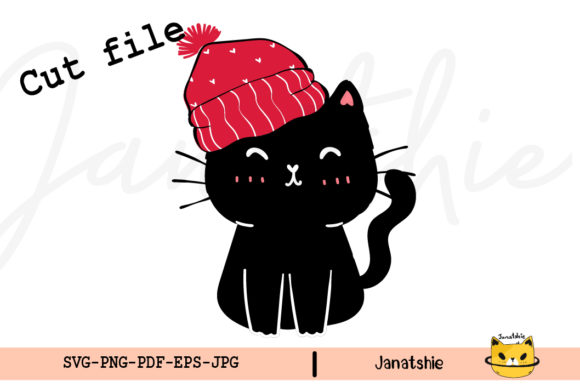Christmas Cute Black Cat SVG Clipart Graphic Crafts By Janatshie