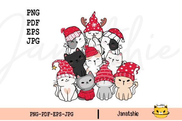 Christmas Funny Cat Tree Clipart Graphic Crafts By Janatshie