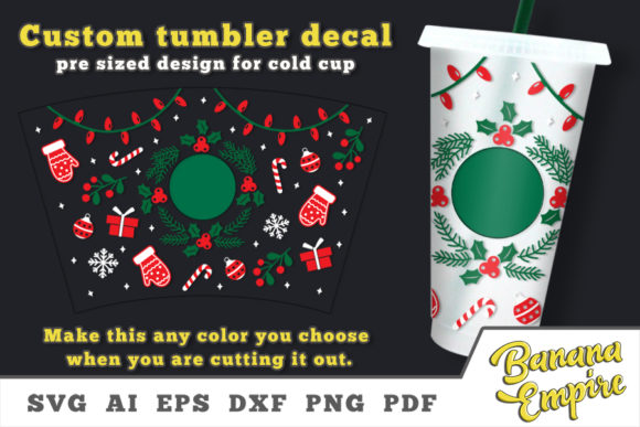 Print on Demand: Christmas Wreath Cold Cup Decal Graphic Crafts By Banana Empire