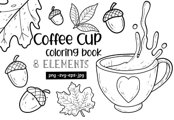 Print on Demand: Coloring Book Coffee Clip Art Graphic Coloring Pages & Books Adults By stanosh