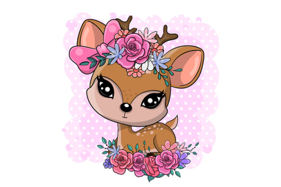 Cute Cartoon Baby Deer with Flowers Graphic Illustrations By maniacvector