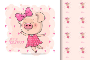 Cute Drawing Piggy Girl Isolated Graphic Illustrations By maniacvector