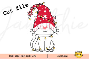 Print on Demand: Cute Gnome Cat with Santa Hat SVG Graphic Crafts By Janatshie