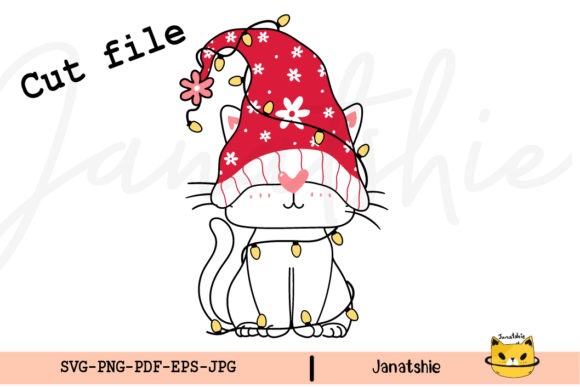 Cute Gnome Cat with Santa Hat SVG Graphic Crafts By Janatshie