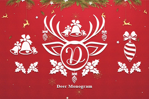 Print on Demand: Deer Monogram Decorativa Fuente Por utopiabrand19