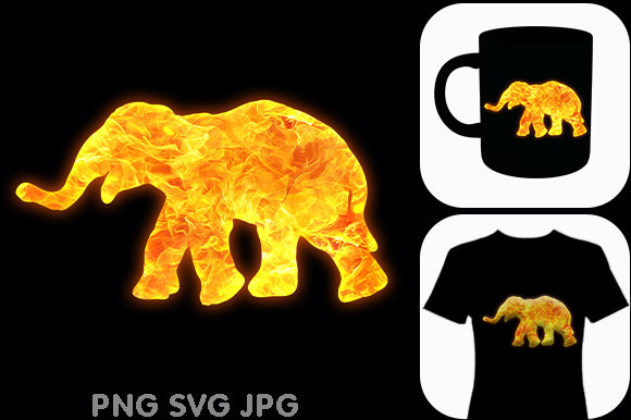 Print on Demand: Fire Elephant African Animal Graphic Illustrations By Chiplanay