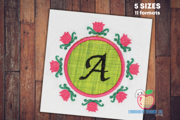 Frame with Flowers Applique Borders Embroidery Design By embroiderydesigns101