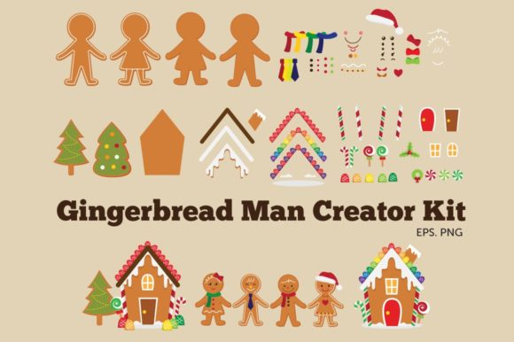 Gingerbread Man Clipart Vector Graphic Illustrations By peachycottoncandy