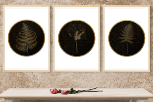 Gold & Black Plants, Printable Wall Arts Graphic Illustrations By artinrhythm