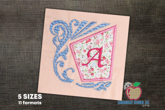 Letter a with Floral Frame Borders Embroidery Design By embroiderydesigns101