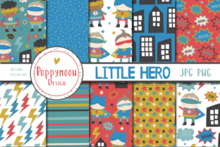 Print on Demand: Little Hero Paper Set Gráfico Moldes Por poppymoondesign