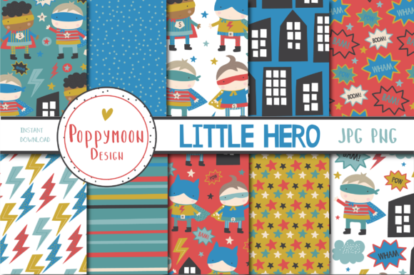 Print on Demand: Little Hero Paper Set Graphic Patterns By poppymoondesign