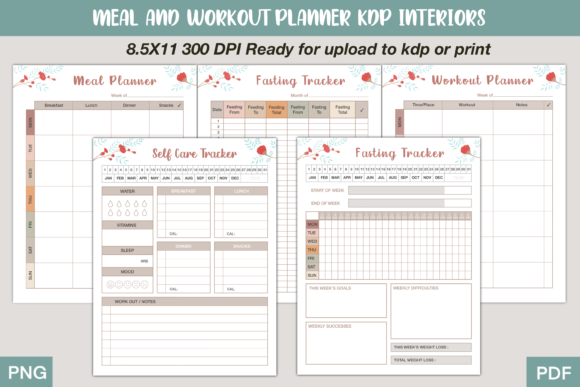 Print on Demand: Meal and Workout Planner Set Graphic KDP Interiors By Twin Flame Journey into the unknown