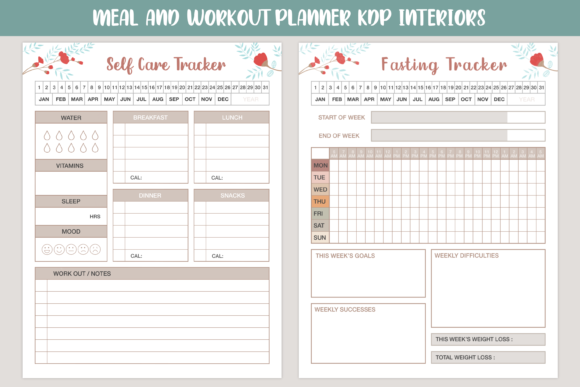 Meal and Workout Planner Set Graphic Download