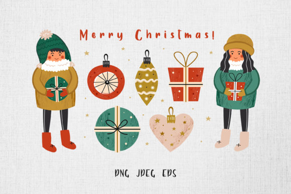 Print on Demand: Merry Christmas Card, Elements, Patterns Graphic Illustrations By FoxBiz