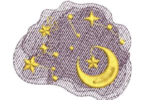 Moon and Stars Bedroom Embroidery Design By carasembor