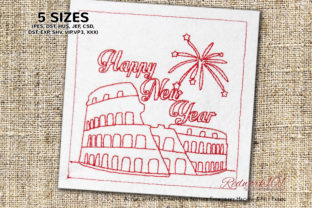 New Year Firework View of Colosseum in Rome Backgrounds Embroidery Design By Redwork101