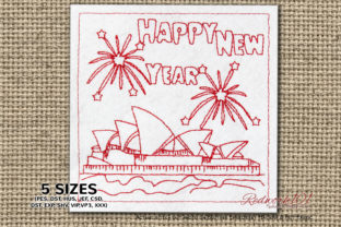 Opera House Sydney Fireworks New Year Backgrounds Embroidery Design By Redwork101