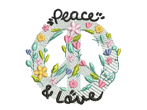 Peace and Love Outdoor Quotes Embroidery Design By carasembor