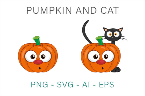 Print on Demand: Pumpkin and Cat Vector Illustration Graphic Illustrations By AS Digitale