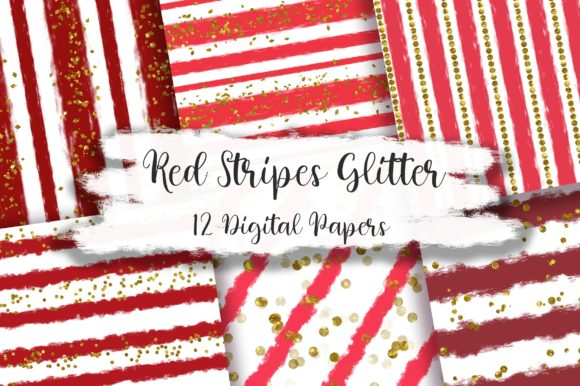 Red Stripes Glitter Digital Papers Graphic Backgrounds By PinkPearly