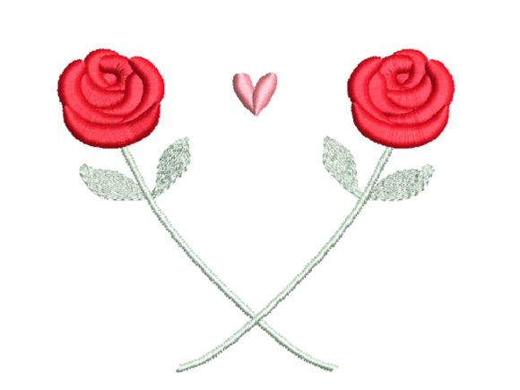 Roses and Heart Valentine's Day Embroidery Design By carasembor