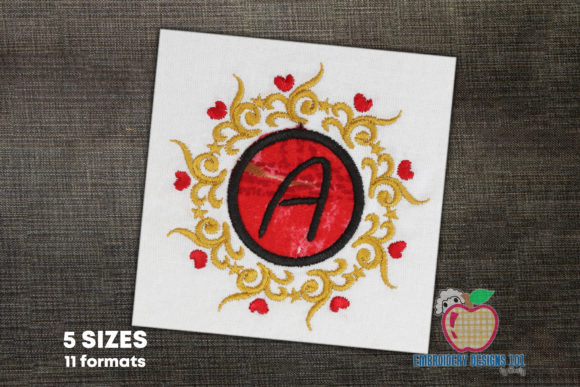 Round Floral Frame with Text Borders Embroidery Design By embroiderydesigns101
