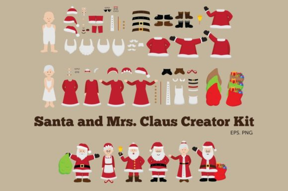 Santa and Mrs Claus Creator Kit Clipart Graphic Illustrations By peachycottoncandy