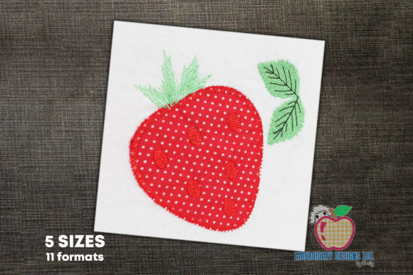 Strawberry with Leaf Applique Food & Dining Embroidery Design By embroiderydesigns101