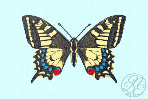 Swallowtail Butterfly Bugs & Insects Embroidery Design By DNE embroidery