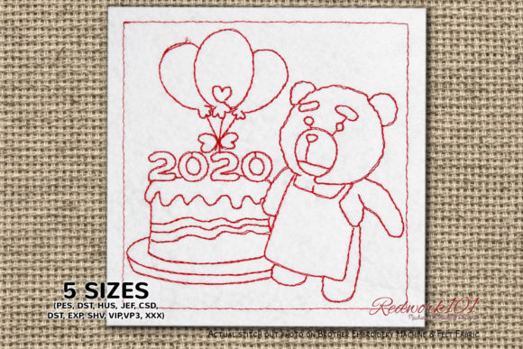 Teddy Baking New Year Cake Redwork Toys & Games Embroidery Design By Redwork101
