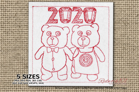 Teddy Bear Couple New Year Celebration Toys & Games Embroidery Design By Redwork101