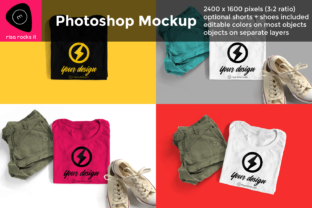 Tee with Shorts and Sneakers PSD Mockup Graphic Product Mockups By RisaRocksIt