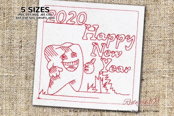 Tooth Cartoon Character with Happy New Year Backgrounds Embroidery Design By Redwork101
