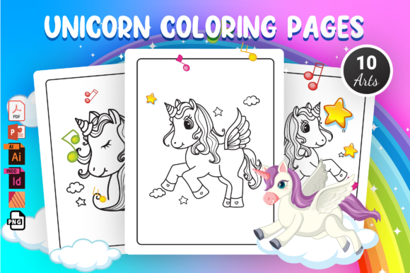 Unicorn Coloring Pages - KDP Interior Graphic Coloring Pages & Books By Moon