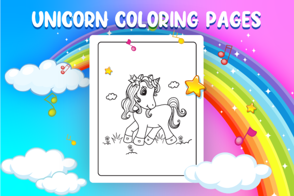 Unicorn Coloring Pages - KDP Interior Graphic Download