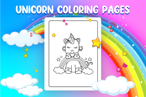 Unicorn Coloring Pages - KDP Interior Graphic Item