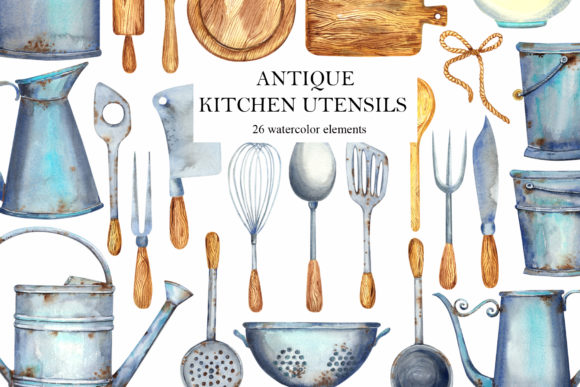 Print on Demand: Watercolor Antique Kitchen Utensils Grafik Illustrationen von evgenia_art_art
