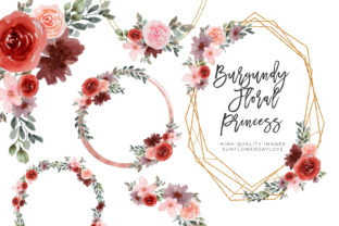 Print on Demand: Watercolor Flower Frame Clipart, Wedding Graphic Illustrations By SunflowerLove