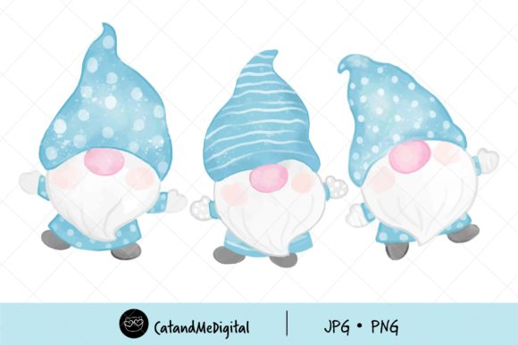 Watercolor Winter Gnomes Clipart Graphic Illustrations By CatAndMe