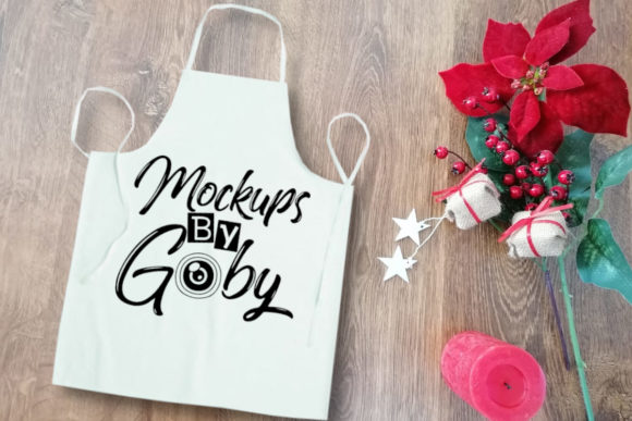 White Apron Mockup, Flat Lay Graphic Product Mockups By MockupsByGaby